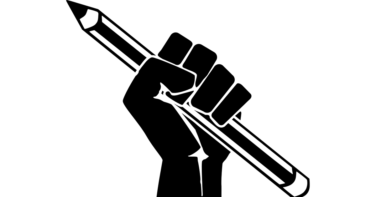 Raised Fist with Pencil Marxism