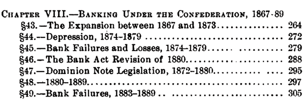 Banking under the Confederation 1867 to 89