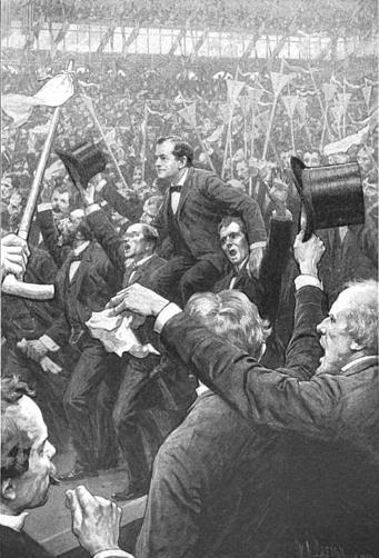 Artist's conception of William Jennings Bryan after the Cross of Gold speech at the 1896 Democratic National Convention. McClure's Magazine, April 1900