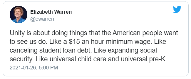 Senator Warrent tweets about Unity