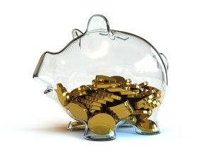 Gold coins in the piggy bank